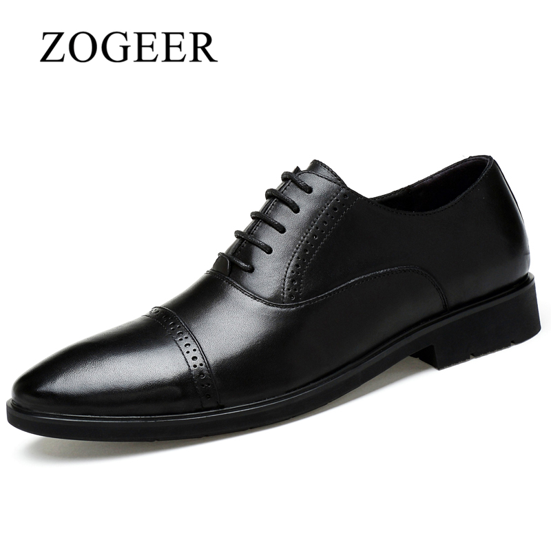 ZOGEER Big Size 38-45 Men Dress Shoes, Black Italian Mens Derby Shoes, Business Lace Up Formal Shoes For Man