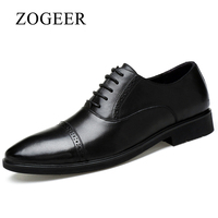 ZOGEER Big Size 38 45 Men Dress Shoes Black Italian Mens Derby Shoes Business Lace Up