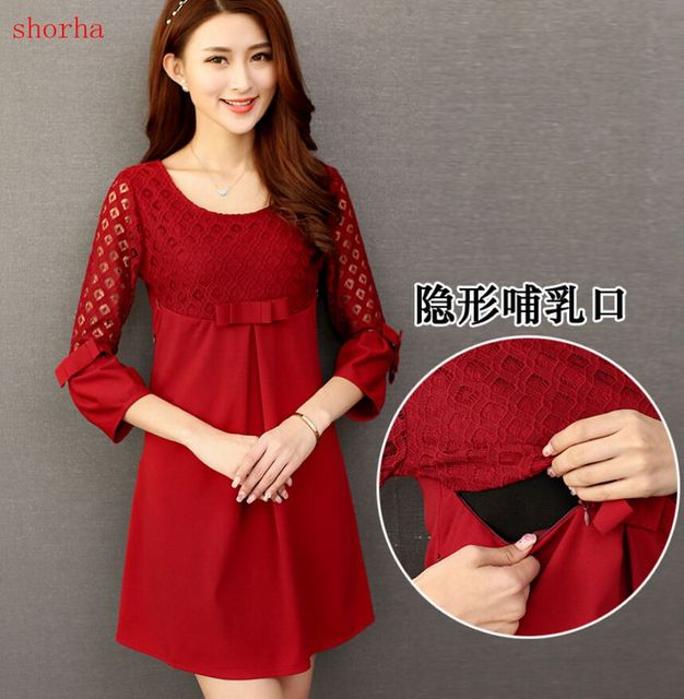 82dc51175c8b5 US $7.69 23% OFF| Autumn Winter Pregnancy Dress Breastfeeding Maternity  Dresses Pink Maternity Blouse Lace Pregnant Women Dresses Nursing Dress-in  ...
