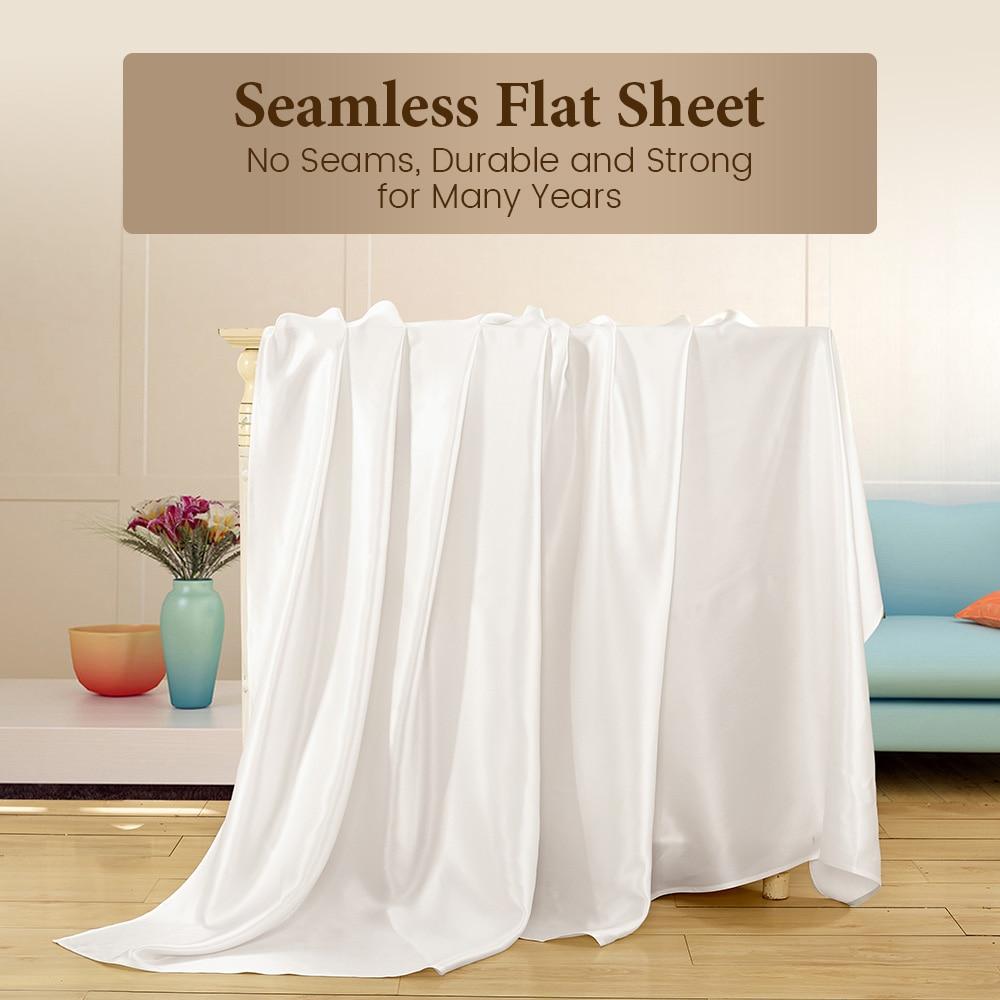 LilySilk แบนแผ่นผ้าไหมหม่อนธรรมชาติ 100 19 momme Silk หรูหราเตียง king queen สิ่งทอหน้าแรกจัดส่งฟรี-ใน แผ่น จาก บ้านและสวน บน   2