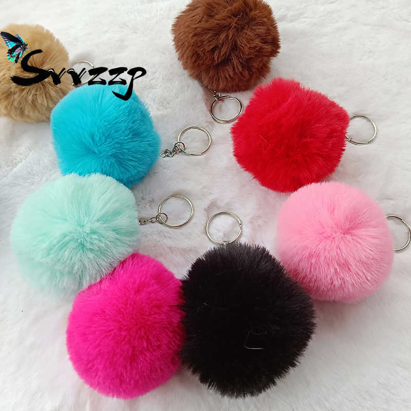 Detail Feedback Questions about 1piece 8cm Pom Pom Keychain Faux Fur Ball  Car Keyring Rabbit Fur Ball Keychain Fur Brand Pompons Bag Charms With  Chains ... e41e4b776