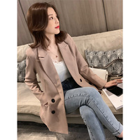 2019 New Retro-British Wind Double-Row Button Net Red Casual Suit Loose Patchwork Double Breasted Women Jackets And Coats