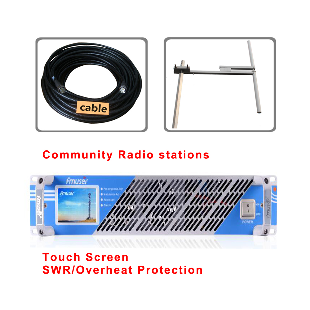 New 300W 350W FM transmitter with Screen touch DV2 dipole antenna 30 meters cable kit