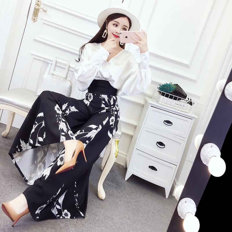 Women Suit Set Elegant Bobo Beach OL Lady V neck Hollow Out Shirt Top Chiffon Print Loose High Waist Full Length Wide Leg Pants 4
