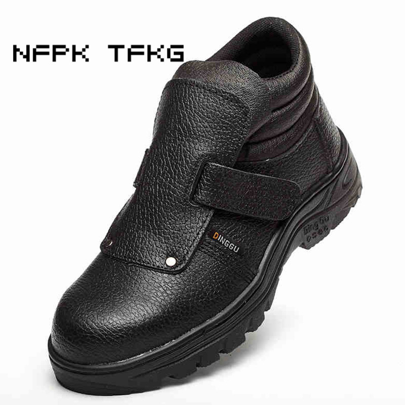 mens casual large size steel toe cap working safety shoes anti-pierce cow leather platform building site worker security boots все цены