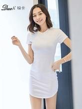 Cotton Women Dress Sexy Mini Dresses Summer Short Sleeve Black White Dodycon Dress Female Basic Dress Slim Bottoming DMZ17167 цены