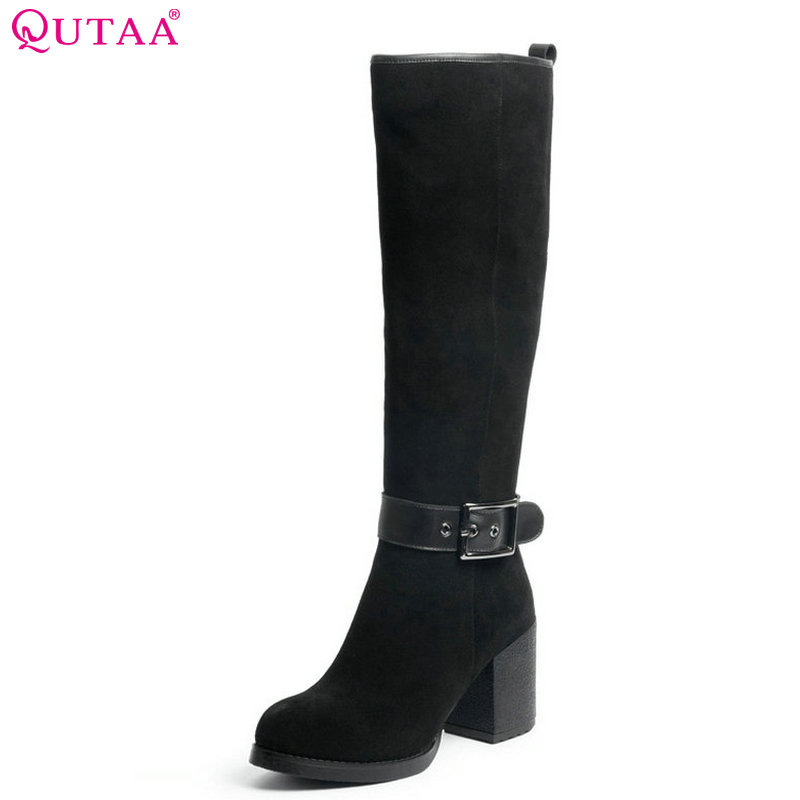 QUTAA 2018 Women Knee High Heel Boots Fashion Black Solid Zipper Round Toe Square High Heel Women Motorcycle Boots Size 34-39 new arrival superstar genuine leather chelsea boots women round toe solid thick heel runway model nude zipper mid calf boots l63