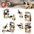 4 unids ejército Militar CS Serie Falcon de las fuerzas especiales Comando minifigrures legoes bloque de construcción de garaje compatible del arsenal de armas