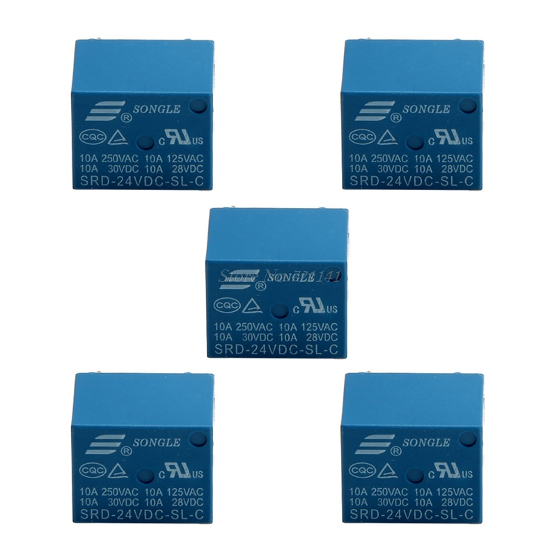 5Pcs 5 Pins SRD-24VDC-SL-C SRD-24VDC-SL-C PCB 24V DC Coil Power Relay Dropship