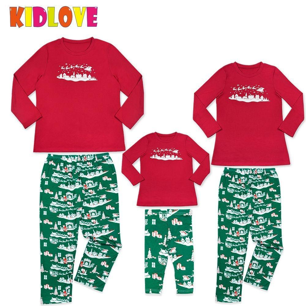 KIDLOVE Christmas Family Pajamas Set Soft Comfortable Home Wear Sled Print 2 Pcs Outfits Red Christmas Set Xmas Gifts ZK30