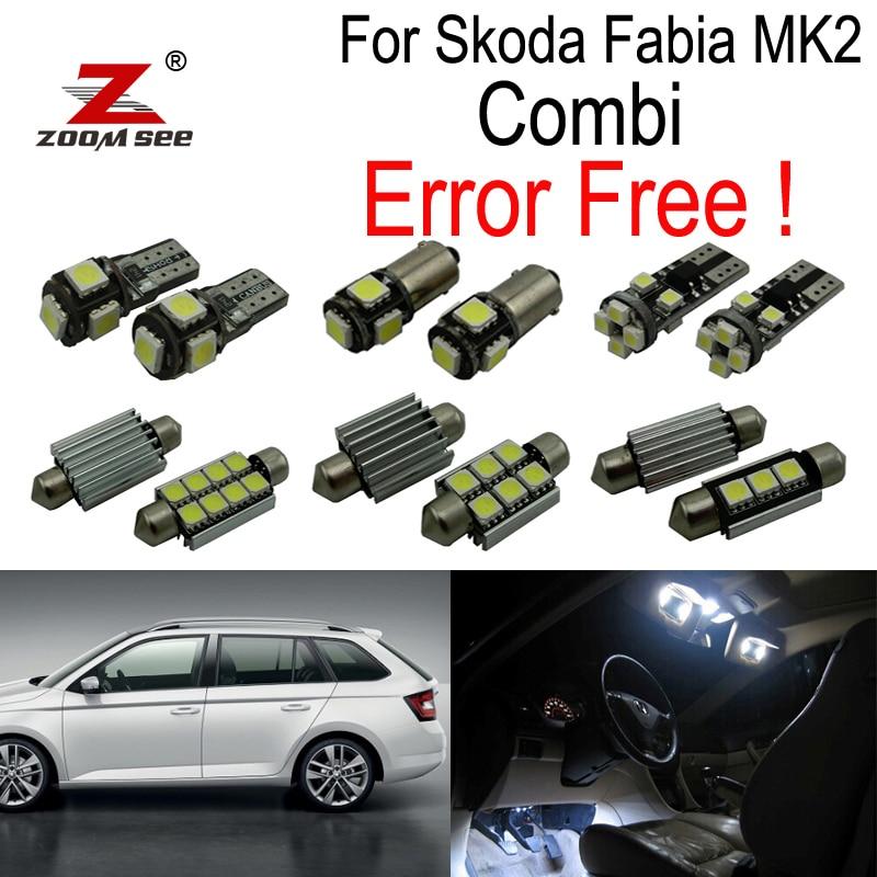 ZOOMSEEZ 17pcs license plate lamp LED bulb Interior dome Light Kit for Skoda Fabia 2 MK2 MK II Combi Estate Wagon (2008-2014)
