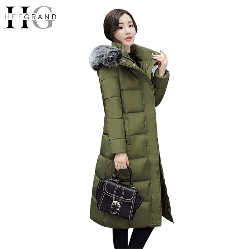 HEE GRAND Winter Women Cotton Parkas Fur Collar Winter Coat Ladies Long Windproof Warm Thickness Feathers Hooded Outwear WWM1620 fur and feathers