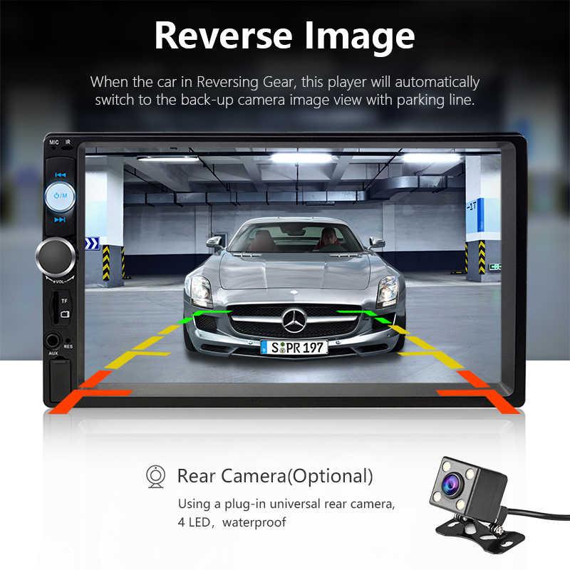 """7 """"1080 P Radio samochodowe MP5 odtwarzacz samochodowy odtwarzacz multimedialny + cyfrowy ekran dotykowy Mirror-link 2 din samochód Radio samochodowe wsparcie kamera tylna"""