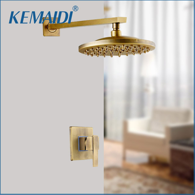 KEMAIDI Antique Brass Wall Mounted Shower Faucet Sets 8 Brass Rain Shower Head Single Lever Shower Mixer Taps Concealed Install kemaidi 3 pcs antique brass