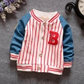 Spring Autumn Infant Baby Long Sleeve Striped Letter Kids Baseball Jacket Boys Coat Outerwear roupas de bebe