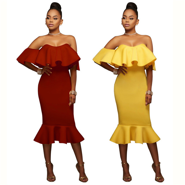 New Brand 2017 Women Off Shoulder Dress Vintage Ruffle Yellow Wine Red Sexy  Bodycon Dress Club Wear Tight Wrap Party Dresses 52230e6bf