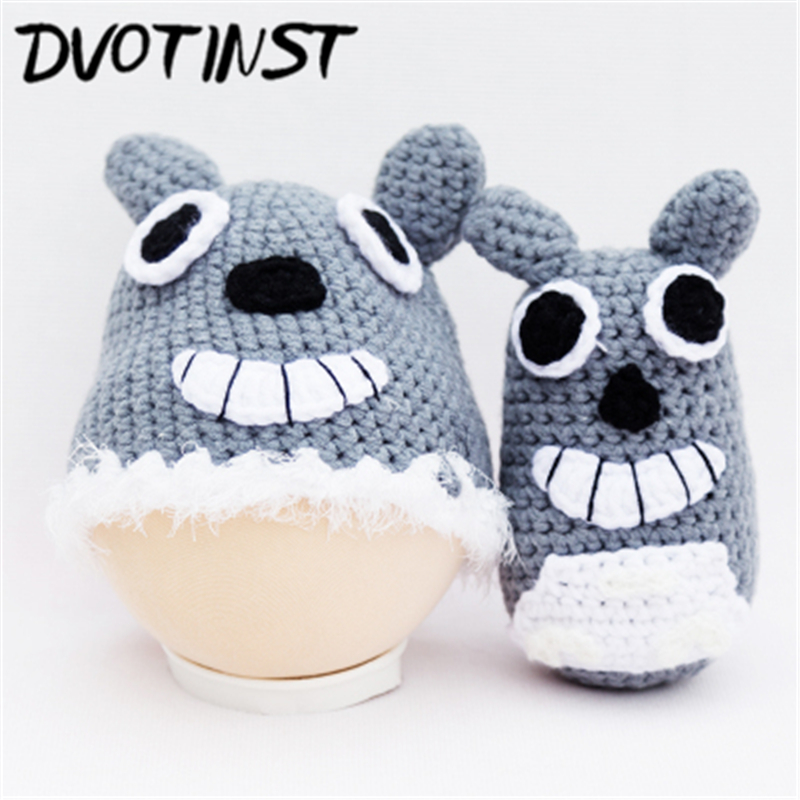 Dvotinst Baby Photography Props Hat+Wolf Doll Crochet Knit Newborn  Fotografia Accessory Infant Studio Shoot Photo Shower Gift-in Hats   Caps  from Mother ... 53d7aa2a670