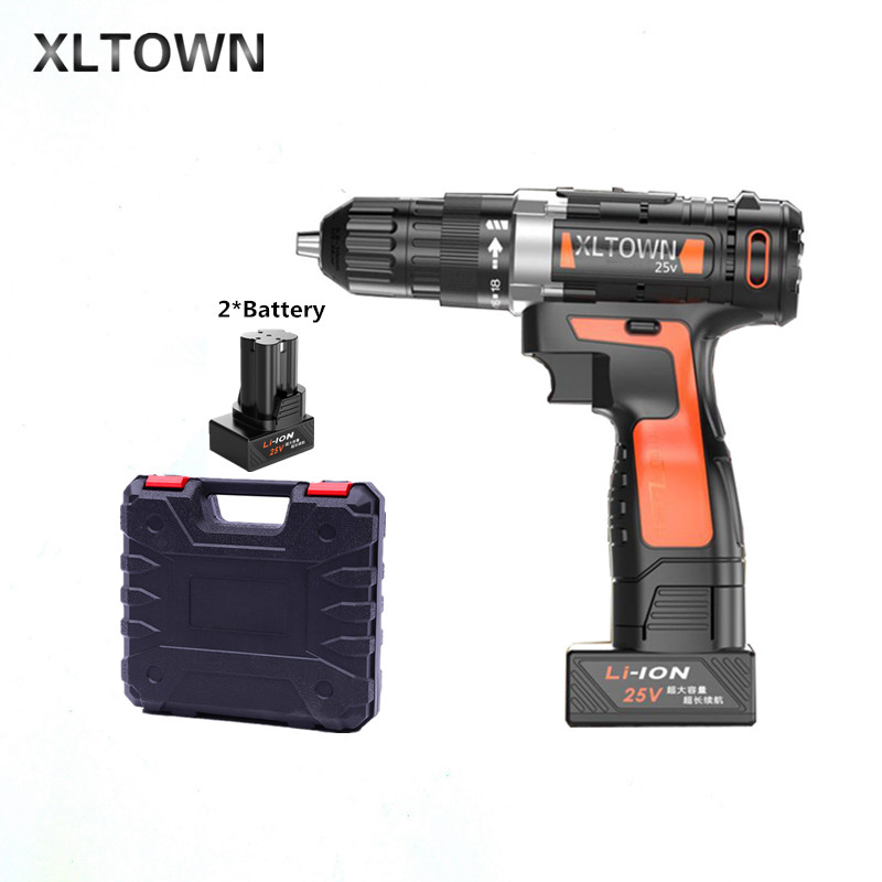 Xltown 25v two-speed lithium battery electric drill with 2 battery and a plastic box Cordless electric screwdrivers power tools xltown 25v two speed 2 battery lithium battery electric screwdriver with a plastic box packaging 27pcs drill bit electric drill