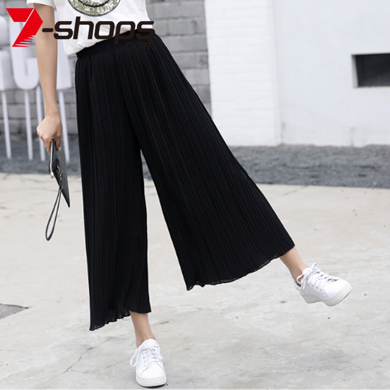 AECU Women Pant Pleated Wide Leg Solid Color Pant Female High Waist Thin Chiffon Plus Size Casual Ladies Culottes Trousers