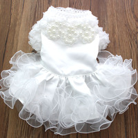 2015 Pet Dog Wedding Dress Cat Puppy Princess Skirt Clothes Pearls Lace Design 5 Sizes Available