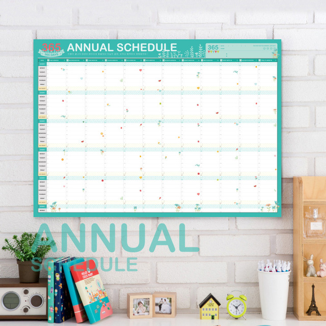 DIY 365 Annual Schedule Post 60*43cm Mint Agenda Table Planner Paper