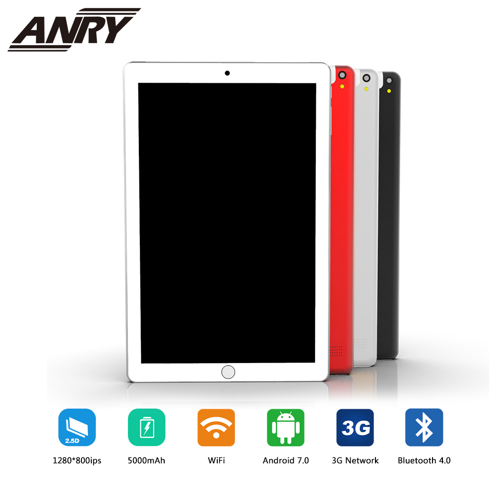 ANRY 10 Inch 3G Phone Call Tablets Android 7.0 Quad Core 4G+32G Tablet Pc Dual SIM Card Laptop Wifi GPS Bluetooth FM Tab