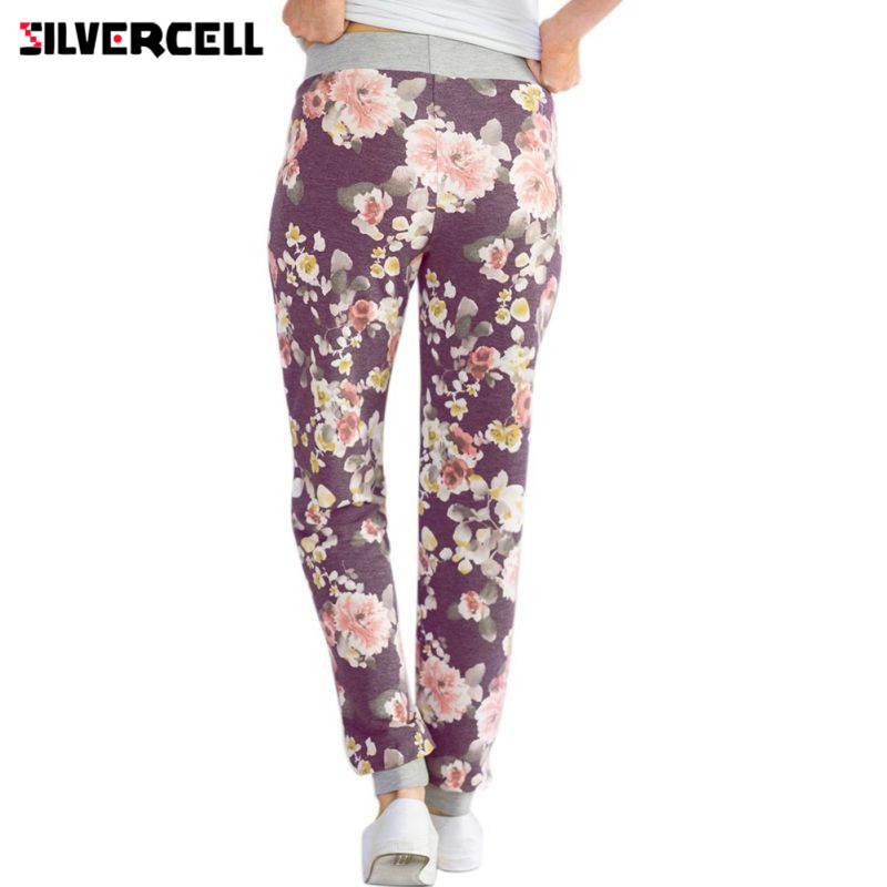 Women Harem Long   Pants   Floral Print Loose Elastic Drawstring Trousers Ladies Women Print Flower   Pant     Capris