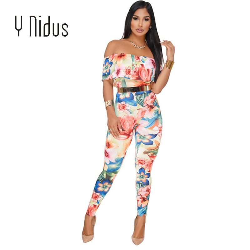 329f8165d Y Nidus Mono mujer elegante Flora Romper verano 2018 fuera del hombro Mono  de una pieza Macacao Mono ...