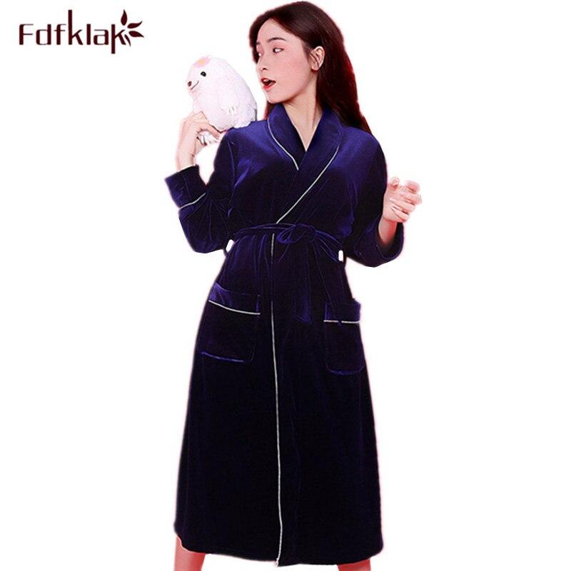 Aliexpress.com   Buy Fdfklak Long dressing gown autumn winter bathrobe  women robe gold velvet long sleeve bridesmaid robes warm homewear bath robe  from ... 888a1a57a