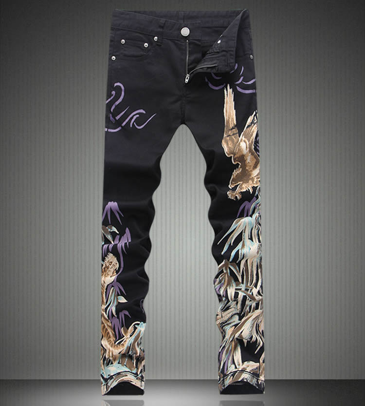 ФОТО   Fashion New  Novelty Eagle Print Slim Black Man Trousers Fashion Coated Painting Jeans