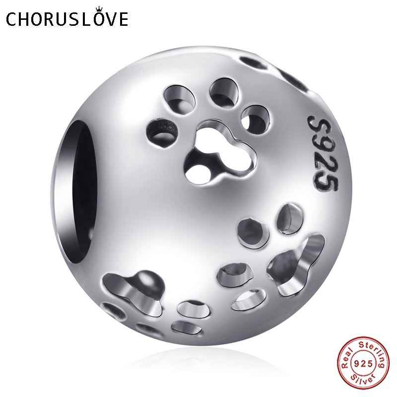 Choruslove Original Authentic 925 Sterling Silver Animal de Estimação Pata Encantos Beads serve Pulseiras Pandora e Colares SS2460