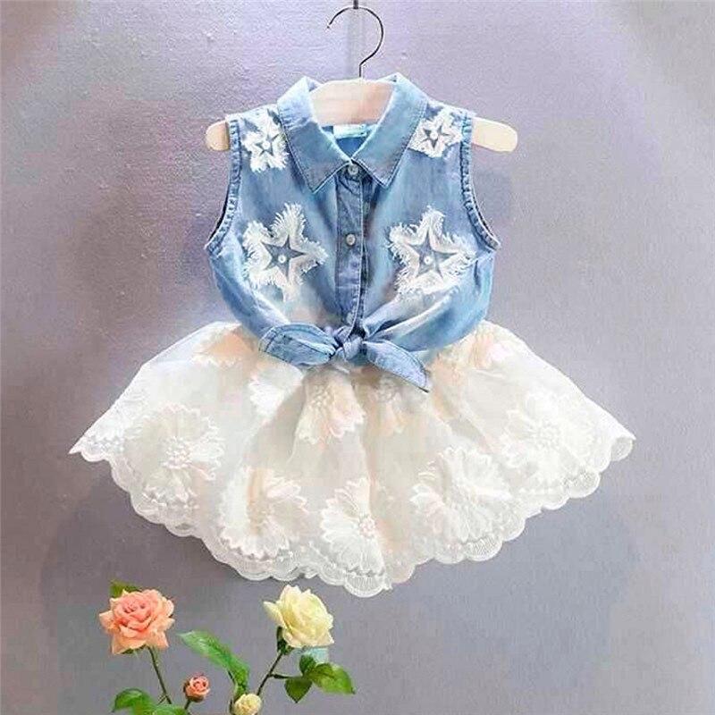 2 stuks Peuter Kids Baby Meisjes Denim Vest Tops T-shirt Tutu Tulle Rok Outfit Set Jongens Kleding 2019 Zomer meisje Kleding Kid