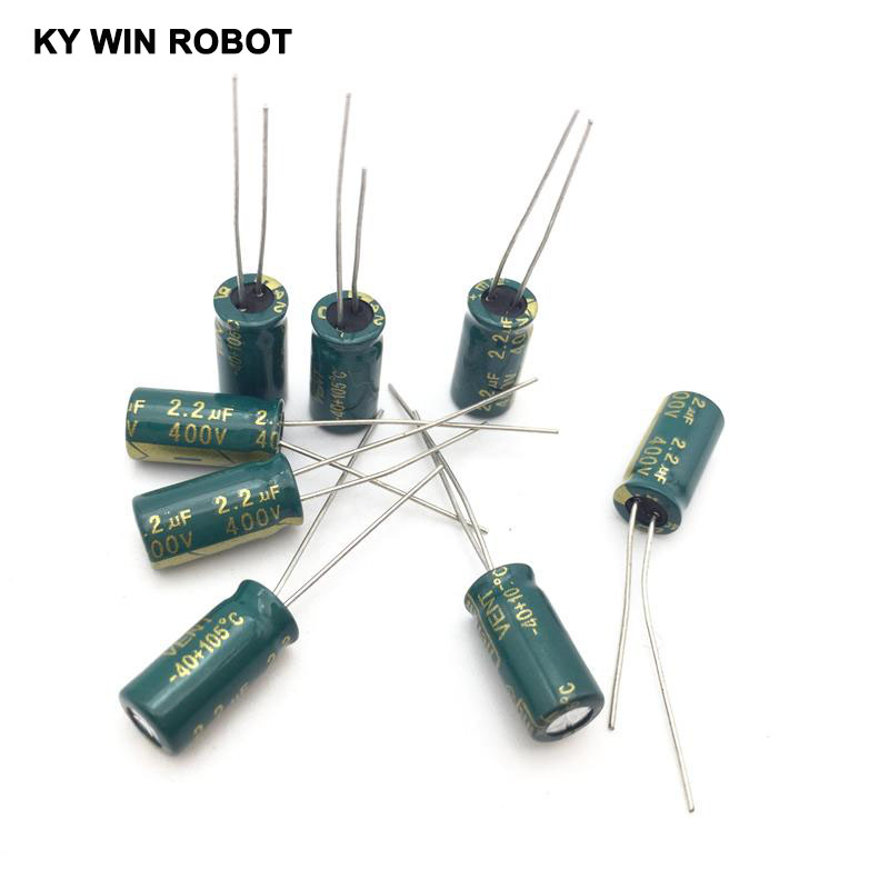 50pcs 400V 2.2UF 6x12mm 105C Radial High-frequency Low Resistance Electrolytic Capacitor 2.2UF 400V