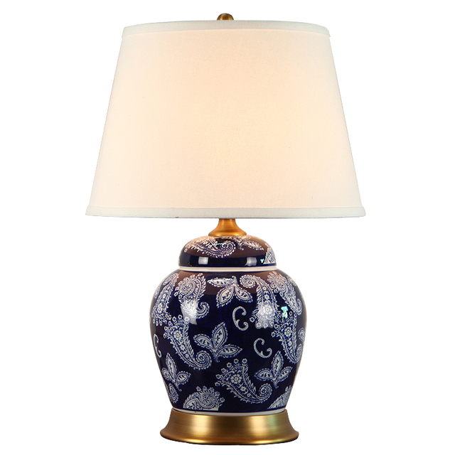 Classical Chinese Hand Painted Blue White Porcelain Fabric Led E27 Dimmer  Table Lamp For Living