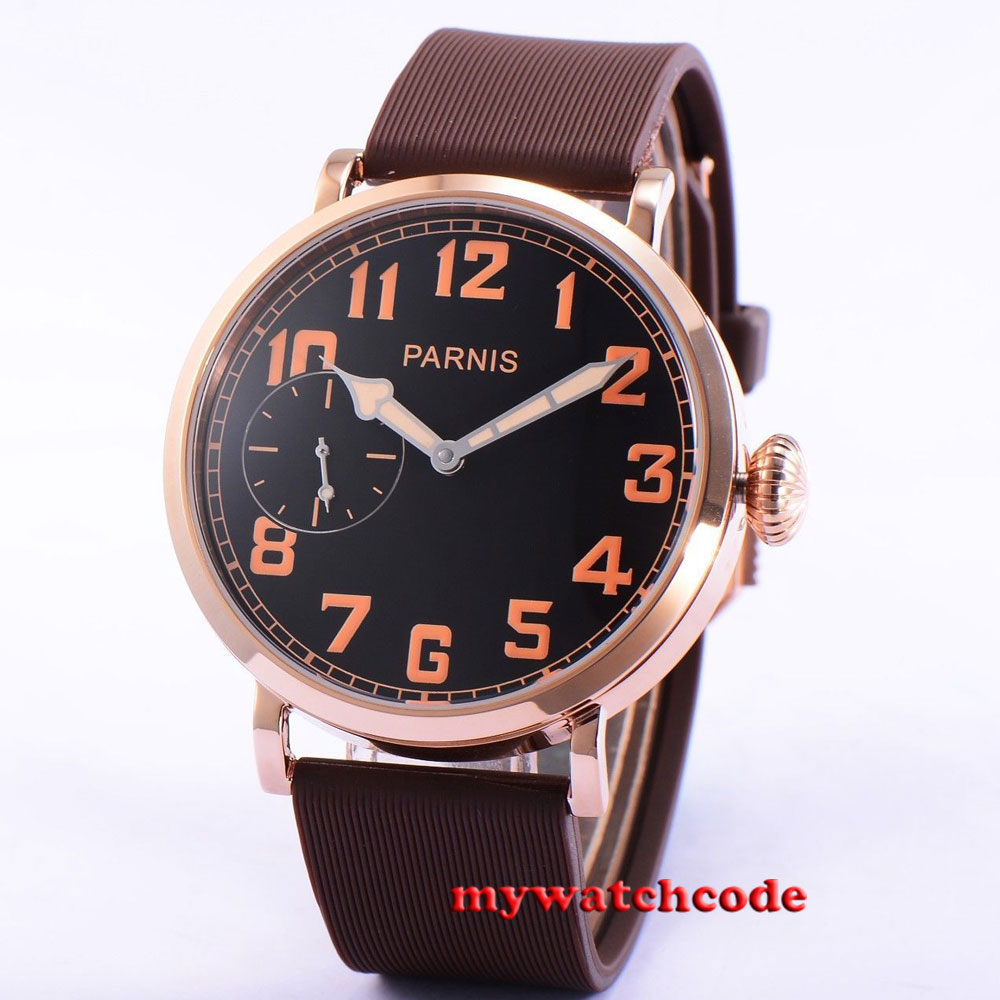 polished 46mm parnis black dial Rose Gold 6497 hand winding mens watch P405B цена и фото