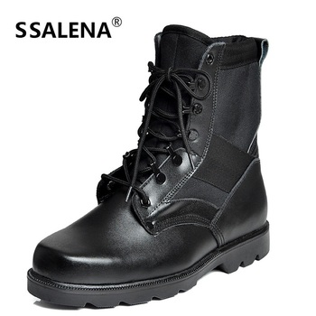 Military Boots Men Split Leather Winter Ankle Boots Mens Warm Lace Up Boots Footwear Comfortable Fashion Tactical Boots  AA10272