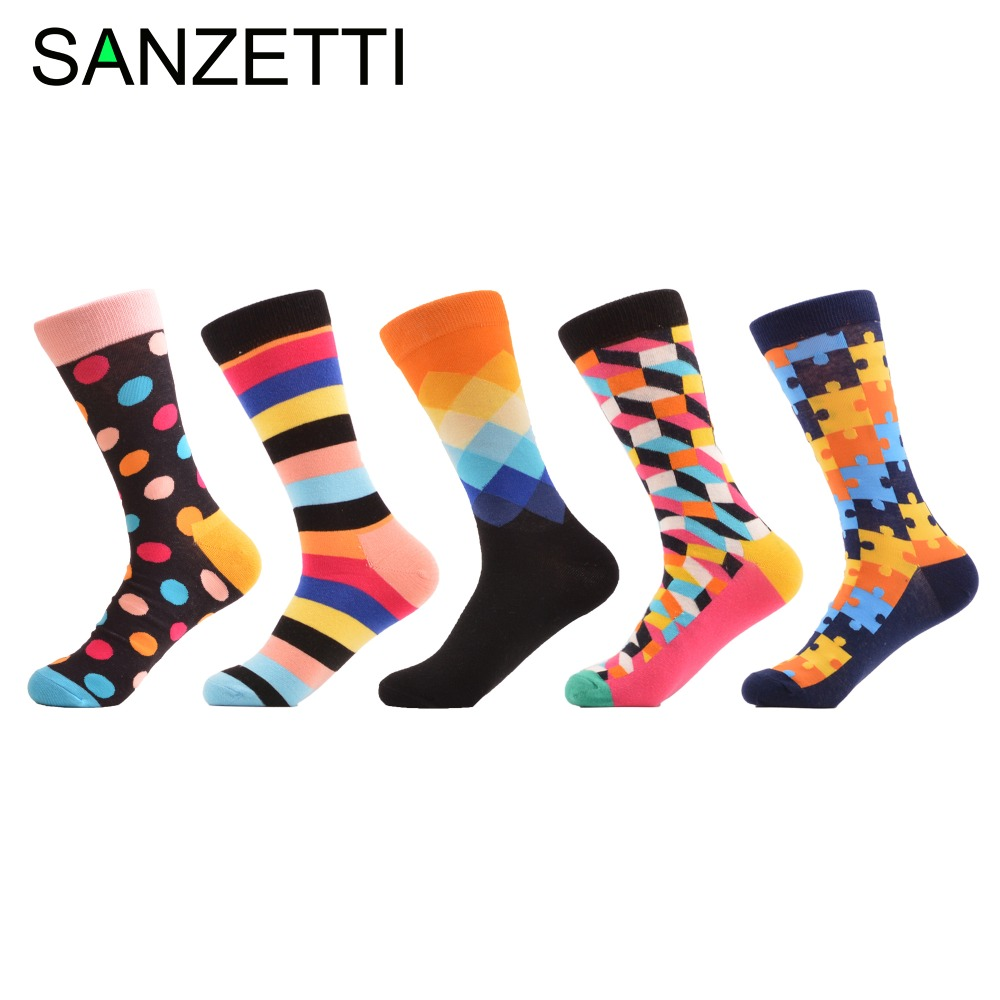 SANZETTI 5 pair/lot Colorful Mens Luxury Combed Cotton Funny Socks Soft Breathable Crew Business Socks Casual Male Dress Socks