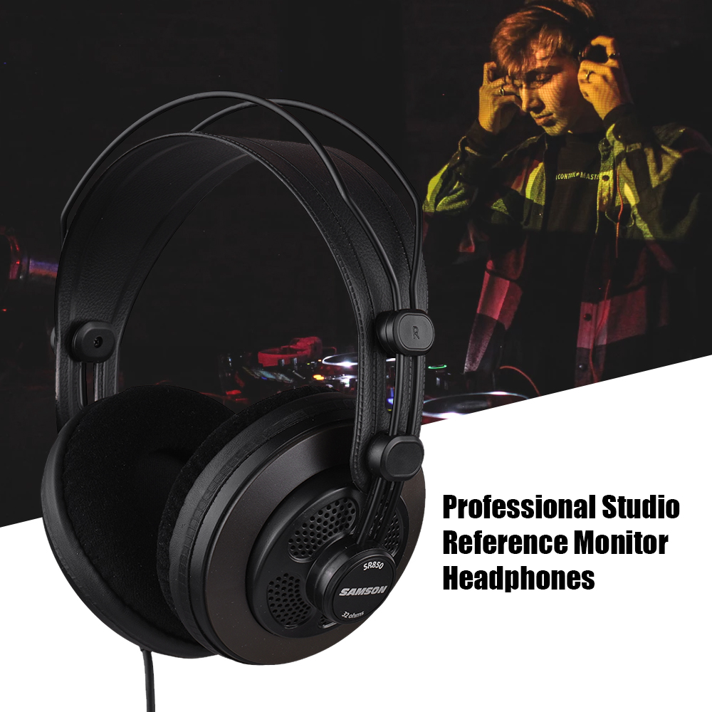 SAMSON SR850 Headphones Studio Reference Monitor Dynamic Headset Semi open Design for Music Appreciation Game Playing