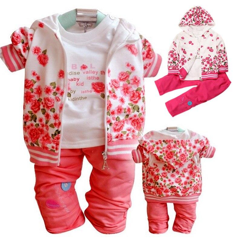 2017 Baby Girls Children Clothing 3pcs/Set Flower Print Hooded Coat+T-shirt+Pants Suits Autumn Spring Wear Costumes 88 B