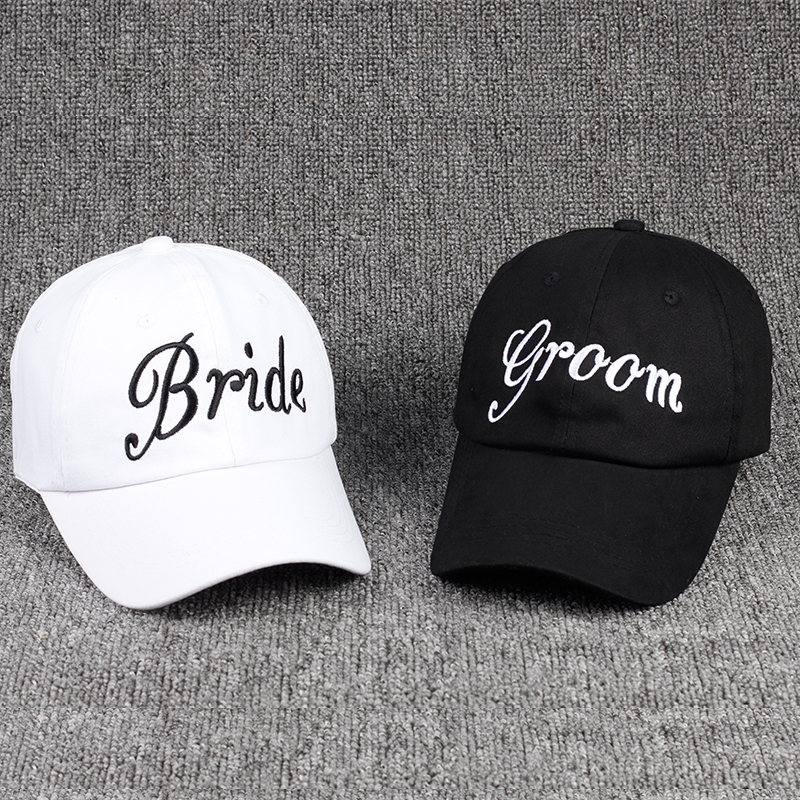 96b2a59d7fd9f Groom Bride SQUAD Baseball Cap 100% Cotton Embroidery Bachelorette Hats  Women Wedding Preparewear Trucker Caps
