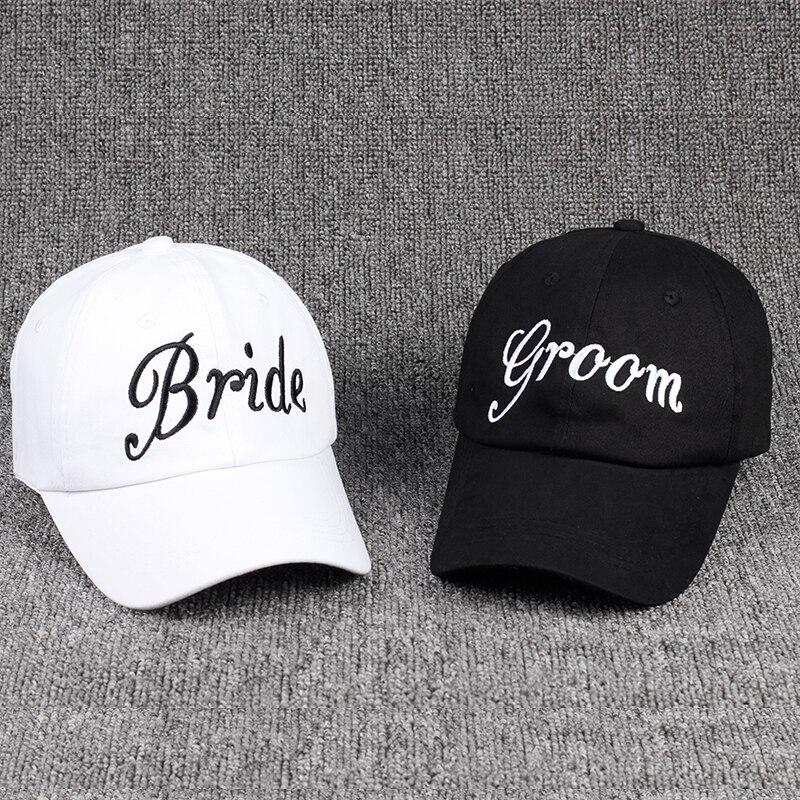 Groom Bride SQUAD Baseball Cap 100% Cotton Embroidery Bachelorette Hats Women Wedding Preparewear Trucker Caps White Snapback