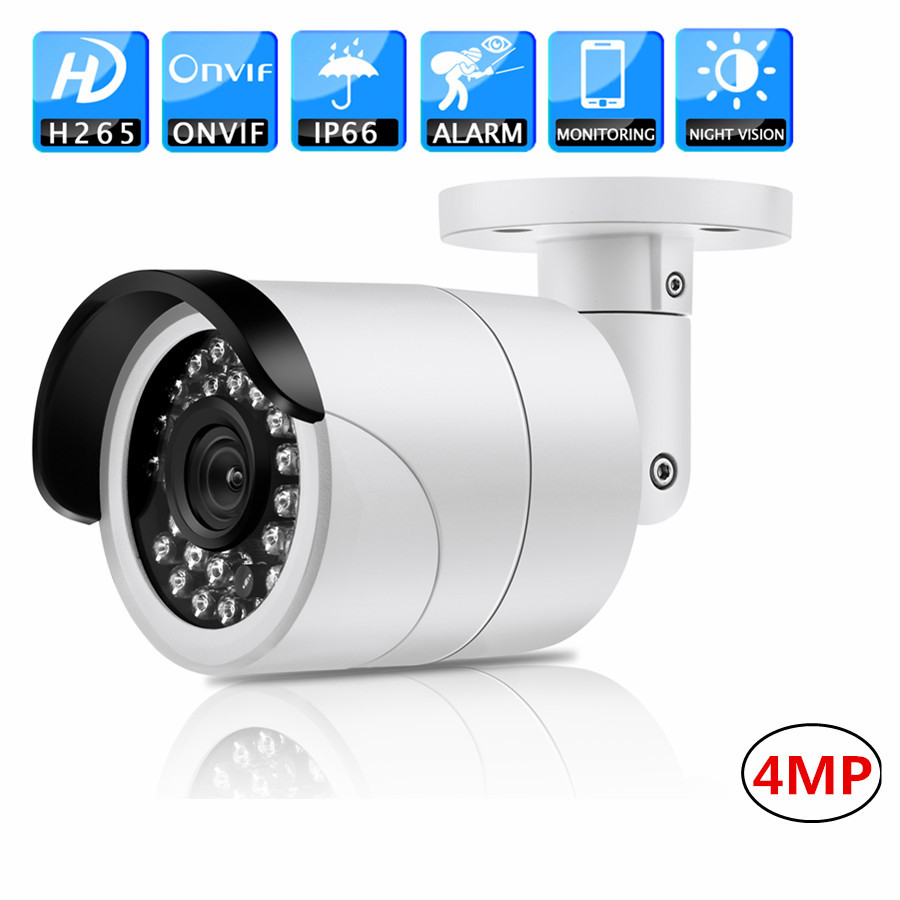 Full HD CCTV IP PoE Camera 4MP H.265 20m IR IP66 infrared ONVIF Detection IP66 Surveillance night vision Security Camera full hd 4mp bullet camera ds 2cd3t45 i5 support h 265 hevc poe ip cctv camera for home security 50m ir range