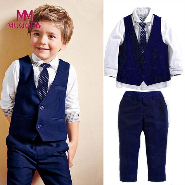 74133cfd3a4 MUQGEW 2018 4Pcs Boys Clothes Set Fashion Kids Boy Gentleman Suit  Blouse+Necktie+Vest+Long Pants Set Outfit  PY