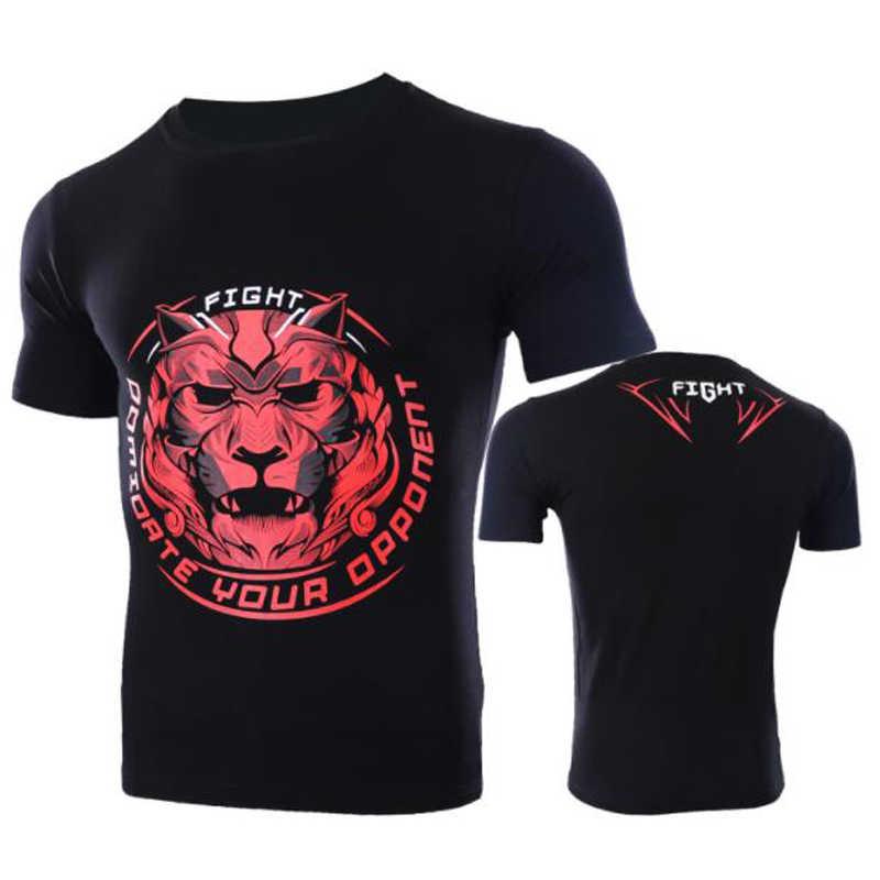2018-2019 Pria Baru Tiger Gambar Lengan Pendek Pertarungan MMA Olahraga T-shirt UFC Dicampur Berjuang Pelatihan Muay Thai sanda Bela Diri Pria