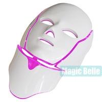 3 цвета Фотон светодиодный инфракрасный лица шеи маска кожи микротоковая массажер омоложение Anti Aging Красота терапии для домашнего использо