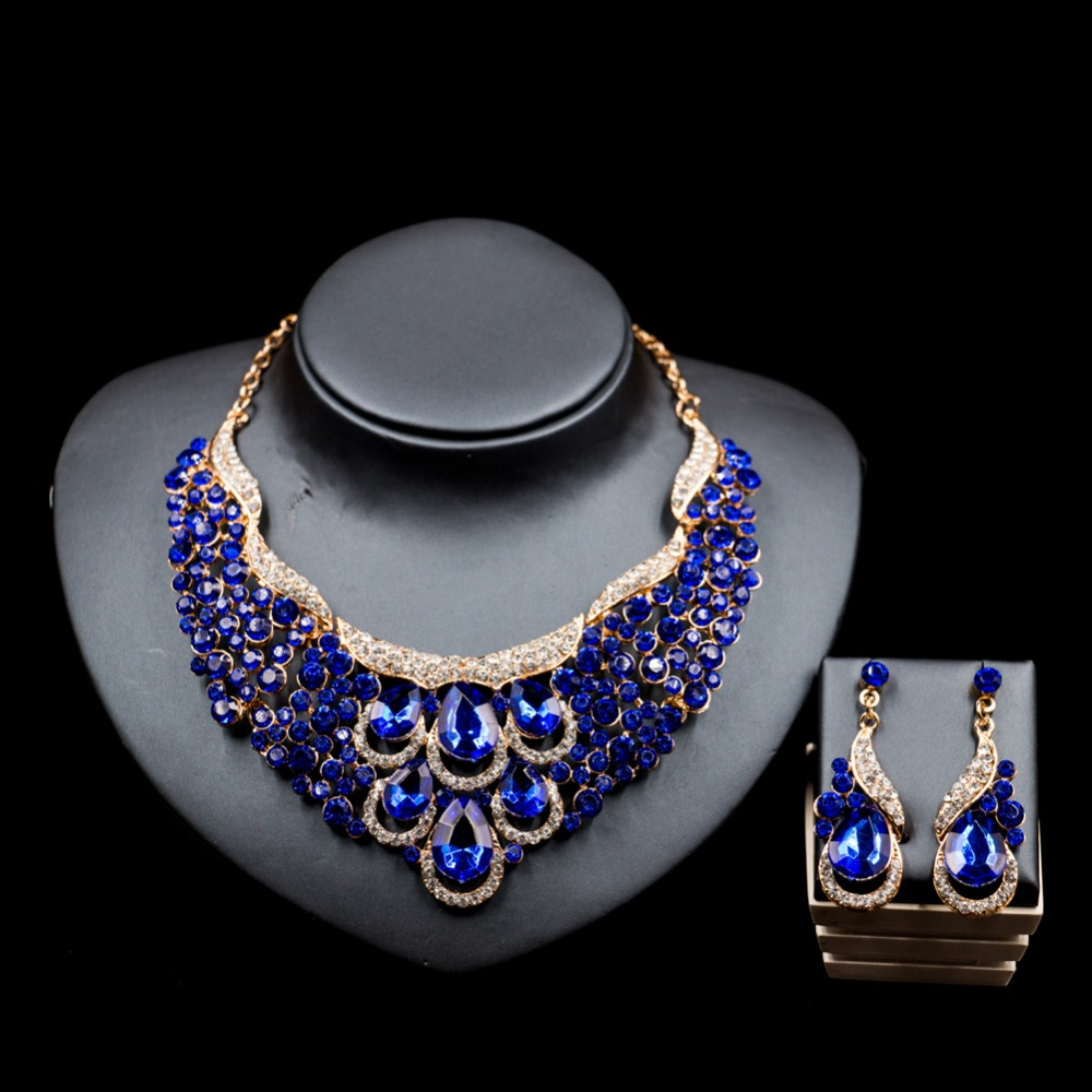 LAN PALACE cheap jewelry set nigerian wedding african beads necklace sets for women necklace and earrings free shipping