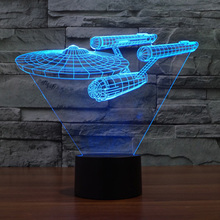New 3D Bulbing Night Light Star Trek Death Star Millennium Falcon LED Lighting Gadget Table Lamp Nightlight for Child Gift