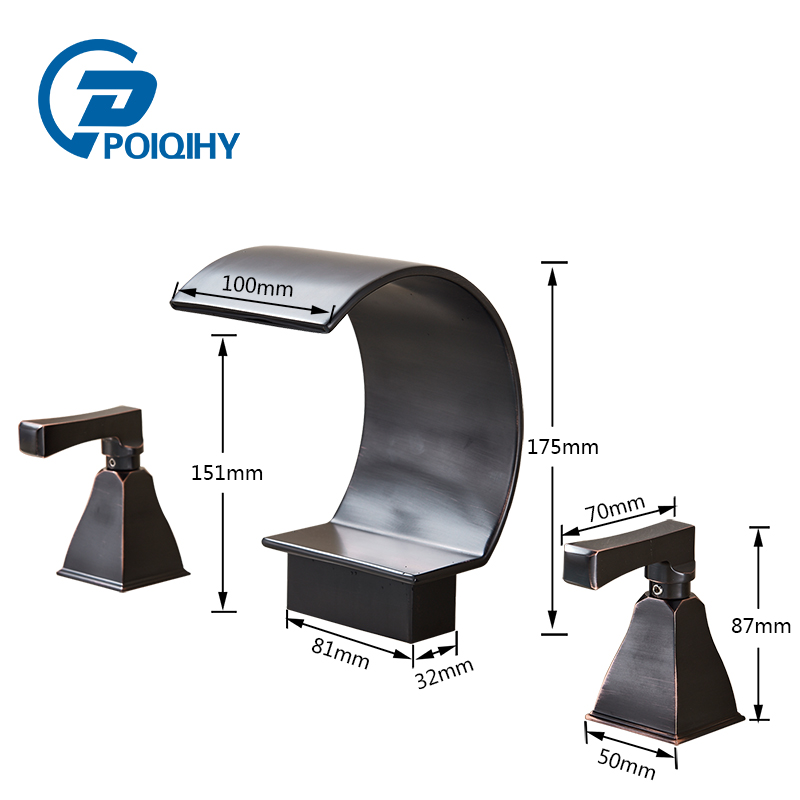 POIQIHY Deck Mount waterfall bathroom faucet Widespread Bathtub Mixer Faucet Oil Rubbed Bronze bathtub tap ulgksd 5 pcs bathtub faucet oil rubbed bronze waterfall spout mixer taps bathroom shower faucet w handshower