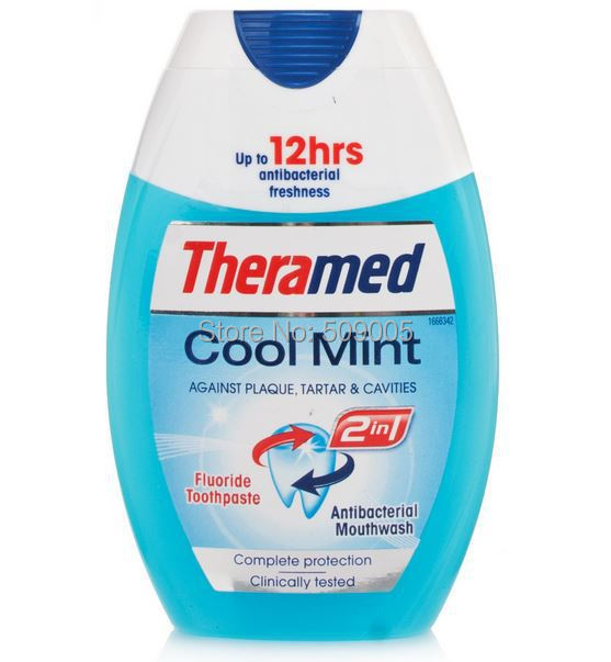 Theramed 2 In 1 Cool Mint A Fluoride Toothpaste & Antibacterial Mouthwash  In One 75ml Free