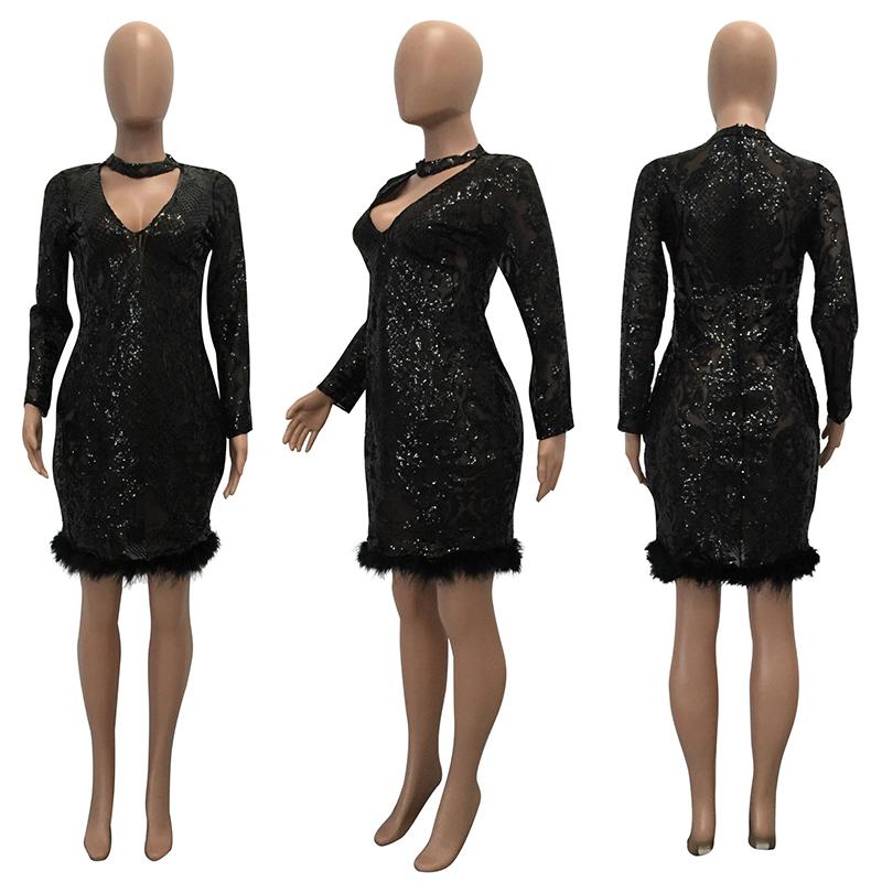 Bonnie Forest Sexy Women Deep V Neck Sequined Choker Bodycon Dress ... d218672cc